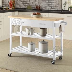 Movable White Kitchen Island with Storage Shelves Kitchen Cart on Wheels 102052