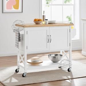 Kitchen Island Cart Black Rolling Kitchen Cart with Cabinet Storage on Wheels 102077