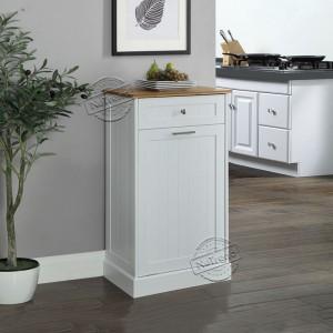 Kitchen Cart with Trash Bin Tilt Out Free Standing Kitchen Trash Cabinet Microwave Stand with Cutting Board 102171