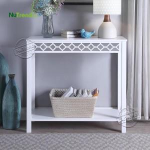203162 Retro White Small Sofa Table for Narrow Entry