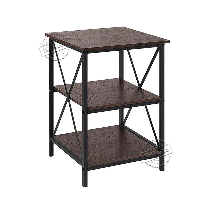 Cross Slim Metal X Black Industrial Wood End Table 203515
