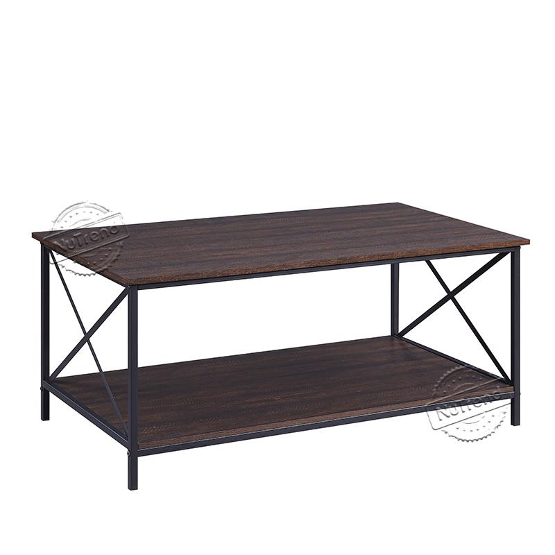 Black Industrial Wood Cross Slim Coffee Table 203516