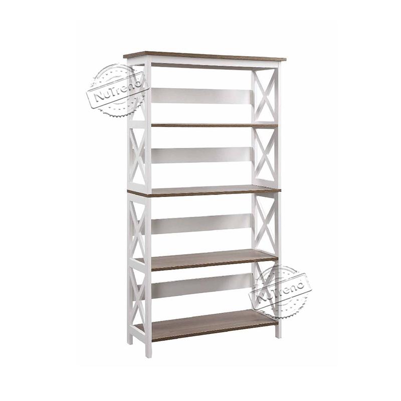 5 Tier Cross Bookcase Display Storage Rack Bookshelf for Home Office 205027