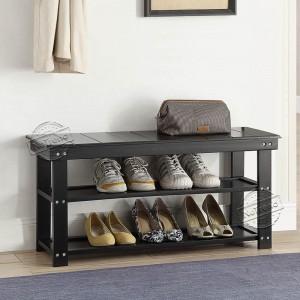 3 Tier Wood Bench Shoe Organizer Shelf 206025