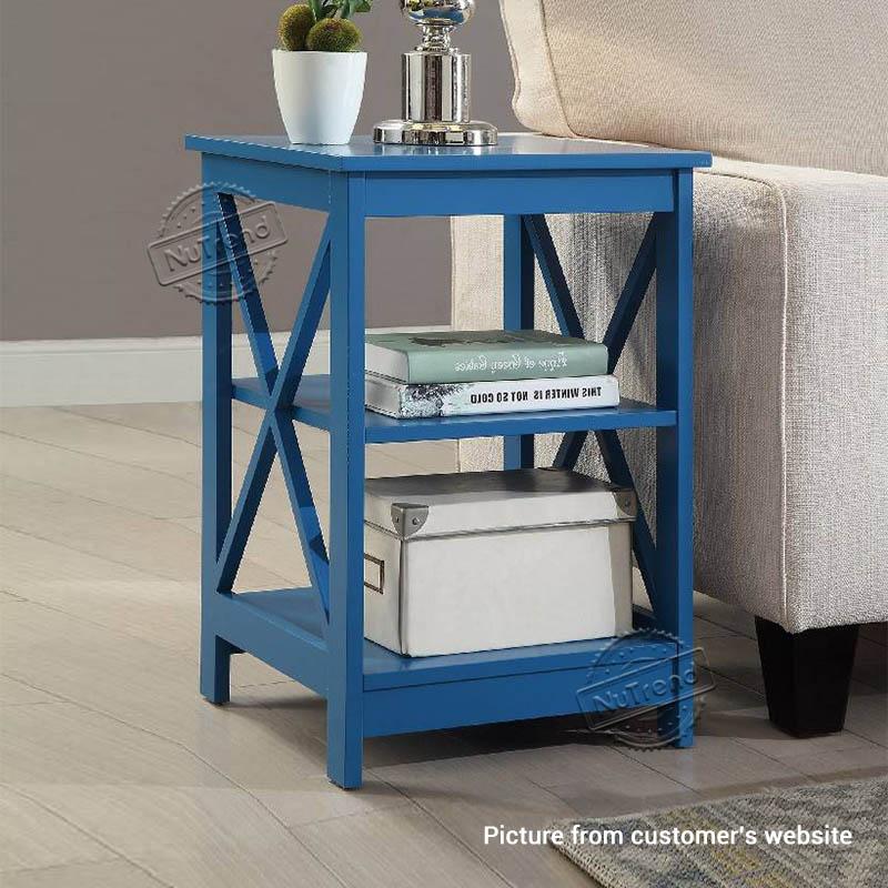 X Frame Side Table White End Table for Living Room 502088