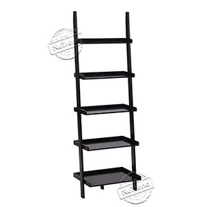 Leaning Ladder Shelf Modern 5 Tier Bookshelf Black Ladder Bookcase for Any Room 502107