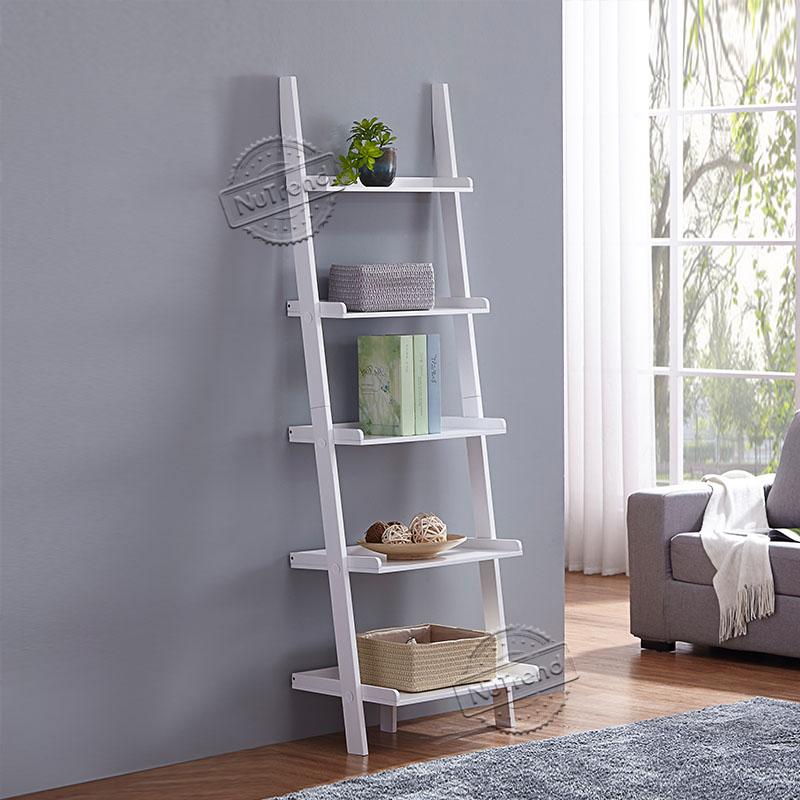 Leaning Ladder Shelf Modern 5 Tier Bookshelf Black Ladder Bookcase for Any Room 502107 Featured Image