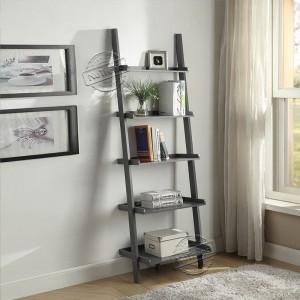 Grey Leaning Ladder Shelf Modern 5 Tier Bookshelf Black Ladder Bookcase for Any Room 502107