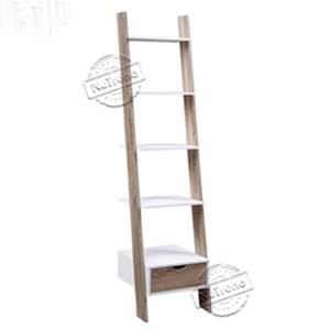 502120 Narrow Wooden Ladder Shelf with Drawer Storage Ladder Bookcase