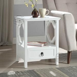 601035 Unique Wooden White Designer Bedside Table with Drawer for Girls Bedroom