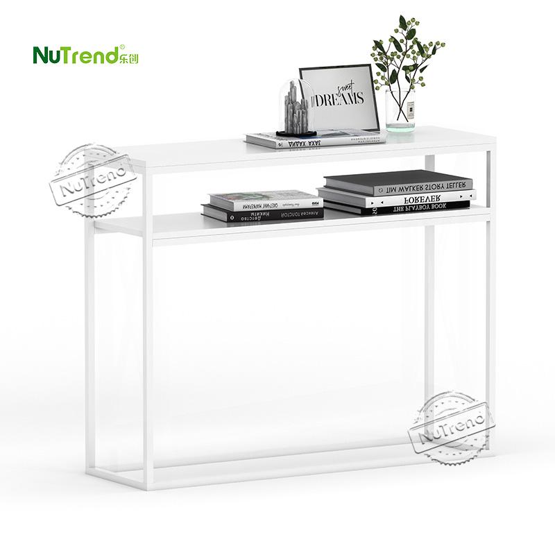 203608 Modern Skinny Hallway Table with 2 Shelves
