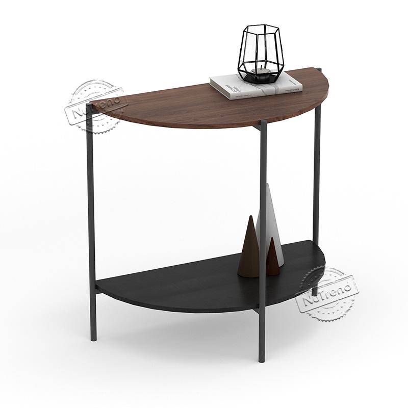 KF20-193 Kalmar Industrial Half Moon Sofa Table Entryway Table Narrow with Storage Shelf for Living Room